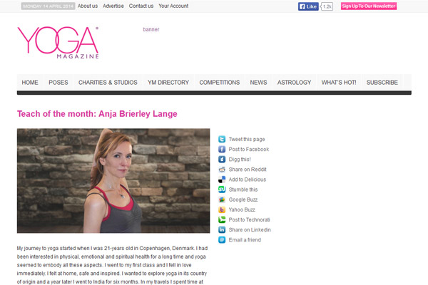 Teach of the month: Anja Brierley Lange – www.yogamagazine.com